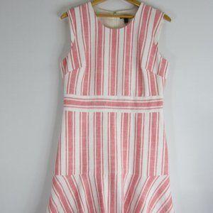 J. Crew 12 Red Striped Cap Sleeve Linen Dress M